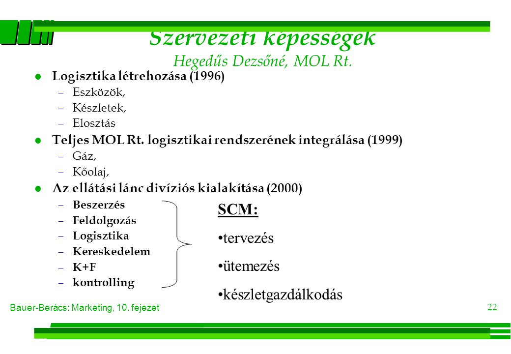 Bauer-Berács: Marketing, 10. fejezet 22 Szervezeti képességek Hegedűs Dezsőné, MOL Rt. l Logisztika létrehozása (1996) –Eszközök, –Készletek, –Elosztá