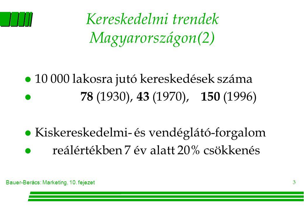 Bauer-Berács: Marketing, 10. fejezet 3 Kereskedelmi trendek Magyarországon(2) l 10 000 lakosra jutó kereskedések száma l 78 (1930), 43 (1970), 150 (19