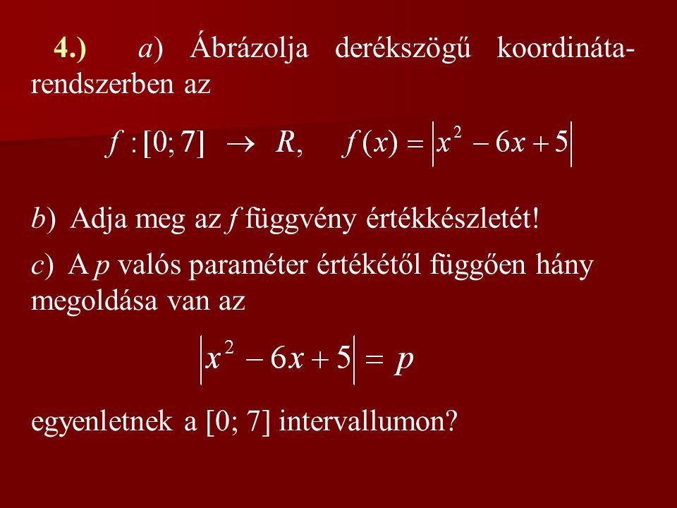 4.) a) Ábrázolja derékszögű koordináta- rendszerben az b) Adja meg az f függvény értékkészletét! c) A p valós paraméter értékétől függően hány megoldá