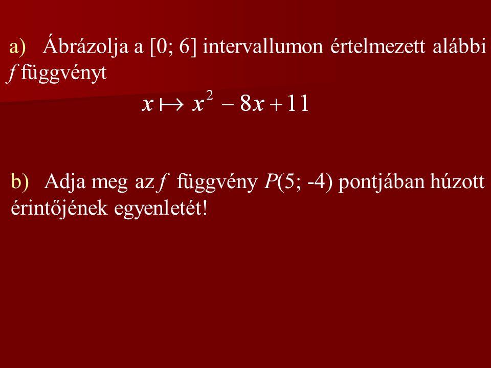 a) Ábrázolja a [0; 6] intervallumon értelmezett alábbi f függvényt b) Adja meg az f függvény P(5; -4) pontjában húzott érintőjének egyenletét!