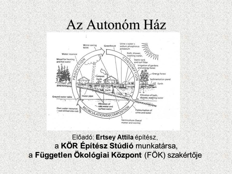 Az Autonóm Ház Előadó: Ertsey Attila építész, a KÖR Építész Stúdió munkatársa, a KÖR Építész Stúdió munkatársa, a Független Ökológiai Központ (FÖK) sz