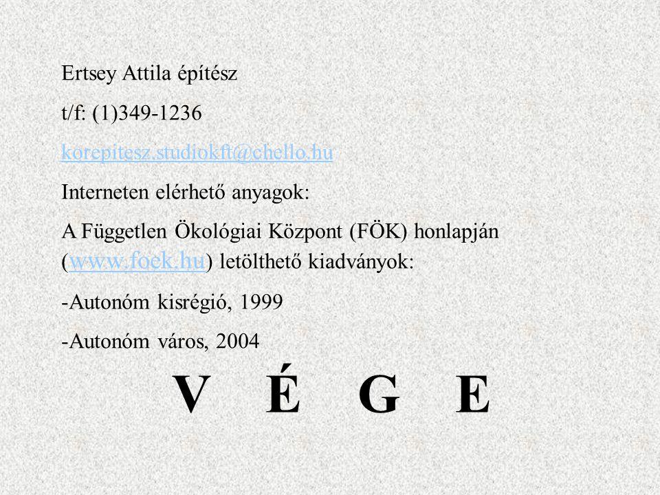 V É G E Ertsey Attila építész t/f: (1)349-1236 korepitesz.studiokft@chello.hu Interneten elérhető anyagok: A Független Ökológiai Központ (FÖK) honlapj