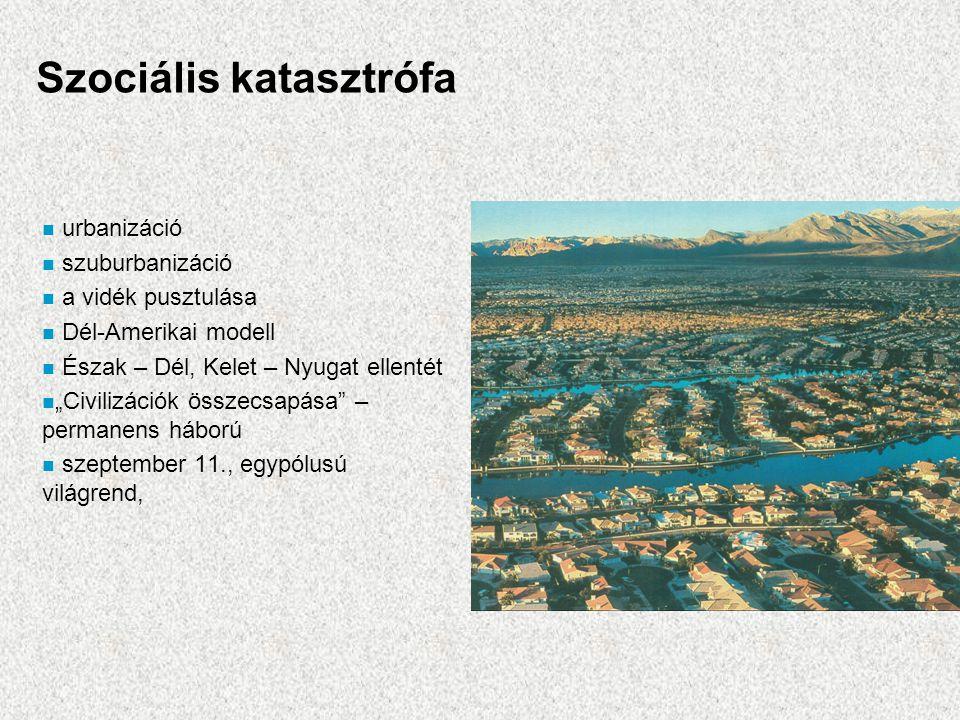"""Szociális katasztrófa n urbanizáció n szuburbanizáció n a vidék pusztulása n Dél-Amerikai modell n Észak – Dél, Kelet – Nyugat ellentét n """"Civilizáció"""