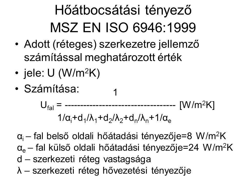 Hőátbocsátási tényező MSZ EN ISO 6946:1999 •Adott (réteges) szerkezetre jellemző számítással meghatározott érték •jele: U (W/m 2 K) •Számítása: 1 U fa