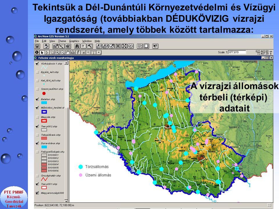Tekintsük a Dél-Dunántúli Környezetvédelmi és Vízügyi Igazgatóság (továbbiakban DÉDUKÖVIZIG vízrajzi rendszerét, amely többek között tartalmazza: A vízrajzi állomások térbeli (térképi) adatait