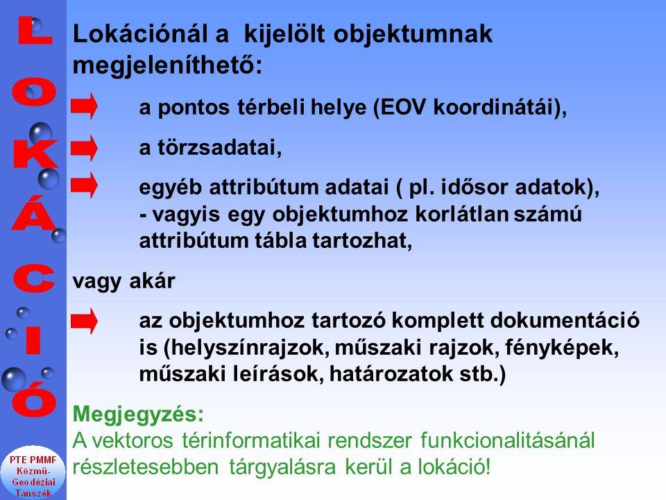 Lokációnál a kijelölt objektumnak megjeleníthető: a pontos térbeli helye (EOV koordinátái), a törzsadatai, egyéb attribútum adatai ( pl.