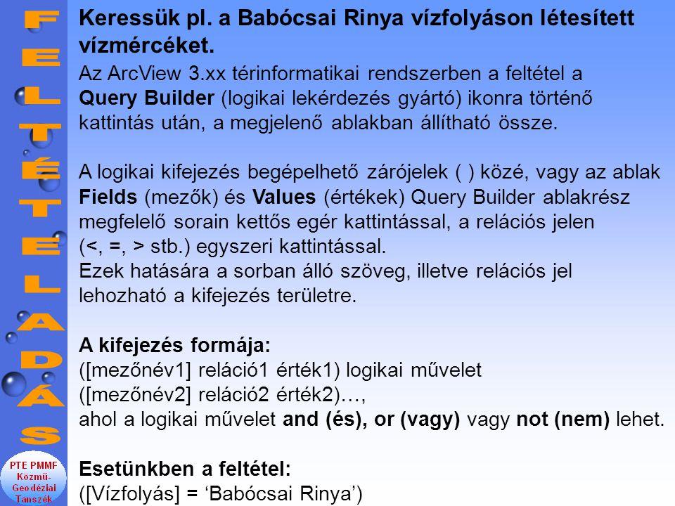 Keressük pl. a Babócsai Rinya vízfolyáson létesített vízmércéket.