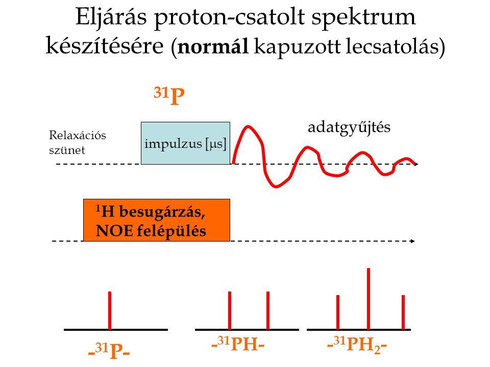 Eljárás proton-csatolt spektrum készítésére ( normál kapuzott lecsatolás) impulzus [  s] 1 H besugárzás, NOE felépülés adatgyűjtés Relaxációs szünet 31 P - 31 P- - 31 PH-- 31 PH 2 -