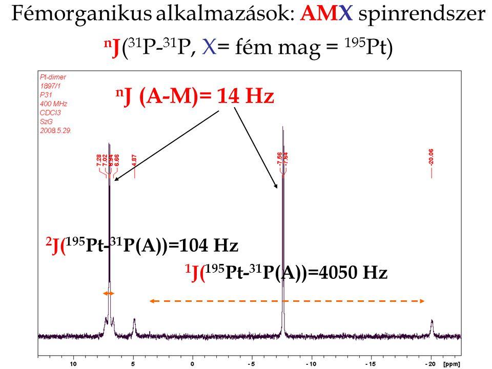 Fémorganikus alkalmazások: AMX spinrendszer n J ( 31 P- 31 P, X= fém mag = 195 Pt) 1 J( 195 Pt- 31 P(A))=4050 Hz n J (A-M)= 14 Hz 2 J( 195 Pt- 31 P(A))=104 Hz