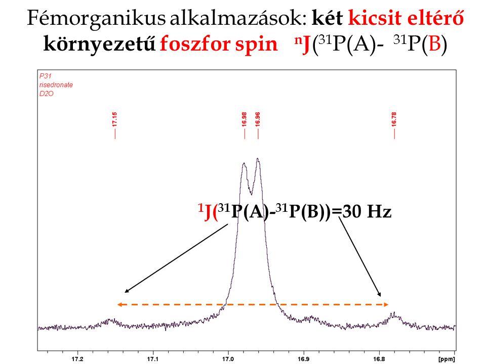Fémorganikus alkalmazások: két kicsit eltérő környezetű foszfor spin n J ( 31 P(A)- 31 P(B) 1 J( 31 P(A)- 31 P(B))=30 Hz