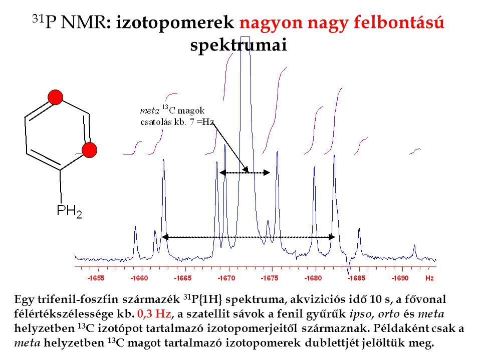 31 P NMR : izotopomerek nagyon nagy felbontású spektrumai Egy trifenil-foszfin származék 31 P{1H} spektruma, akviziciós idő 10 s, a fővonal félértékszélessége kb.