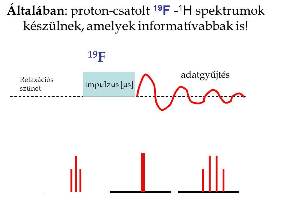 Általában : proton-csatolt 19 F - 1 H spektrumok készülnek, amelyek informatívabbak is! impulzus [  s] 19 F adatgyűjtés Relaxációs szünet