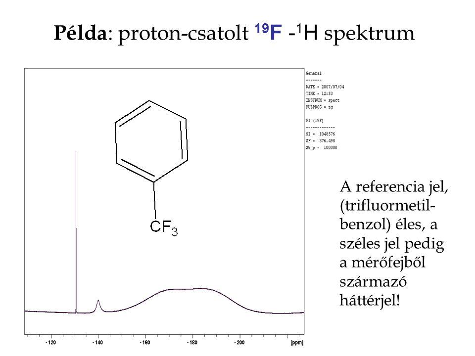 Példa : proton-csatolt 19 F - 1 H spektrum A referencia jel, (trifluormetil- benzol) éles, a széles jel pedig a mérőfejből származó háttérjel!