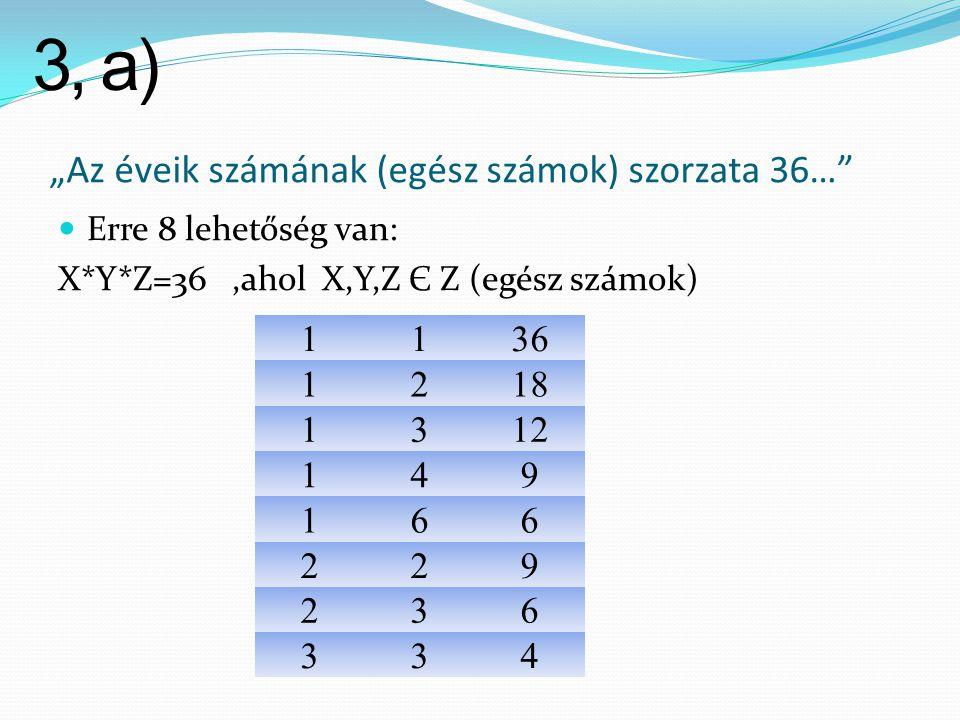 """""""Az éveik számának (egész számok) szorzata 36…""""  Erre 8 lehetőség van: X*Y*Z=36,ahol X,Y,Z Є Z (egész számok) 1136 1218 1312 149 166 229 236 334 3, a"""