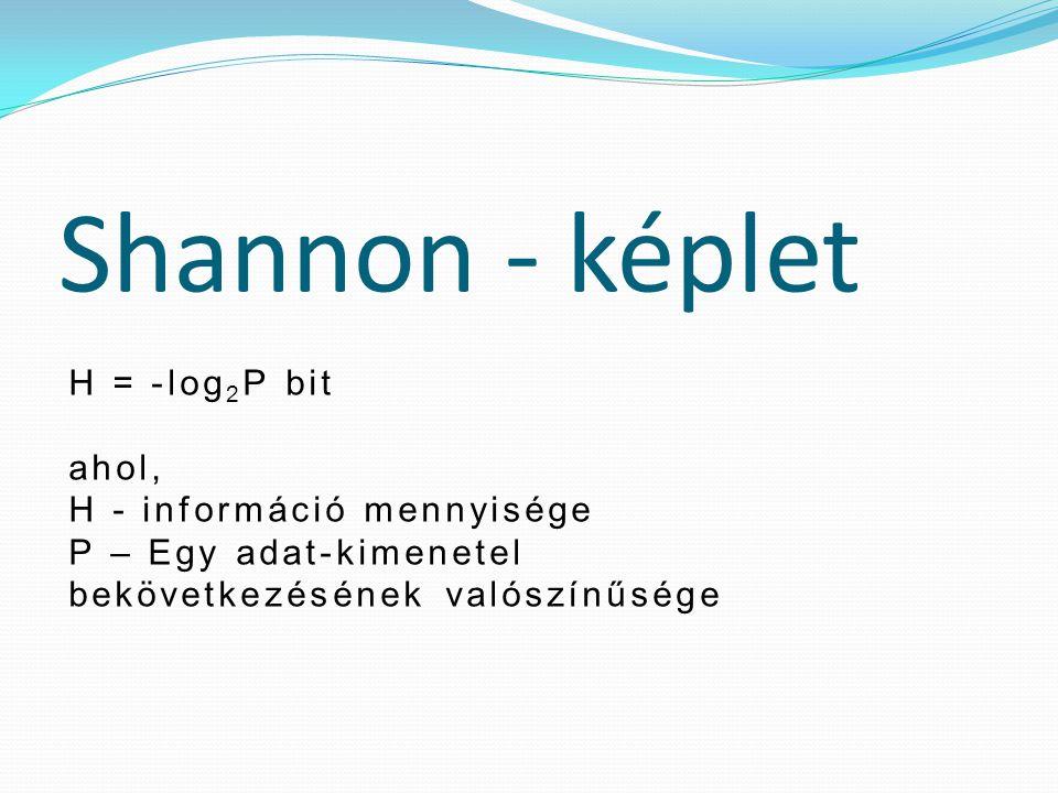 Shannon - képlet H = -log 2 P bit ahol, H - információ mennyisége P – Egy adat-kimenetel bekövetkezésének valószínűsége