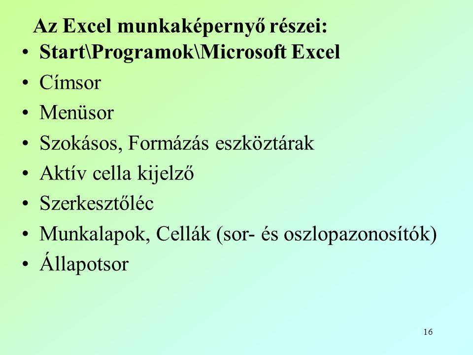 16 Az Excel munkaképernyő részei: •Start\Programok\Microsoft Excel •Címsor •Menüsor •Szokásos, Formázás eszköztárak •Aktív cella kijelző •Szerkesztőléc •Munkalapok, Cellák (sor- és oszlopazonosítók) •Állapotsor