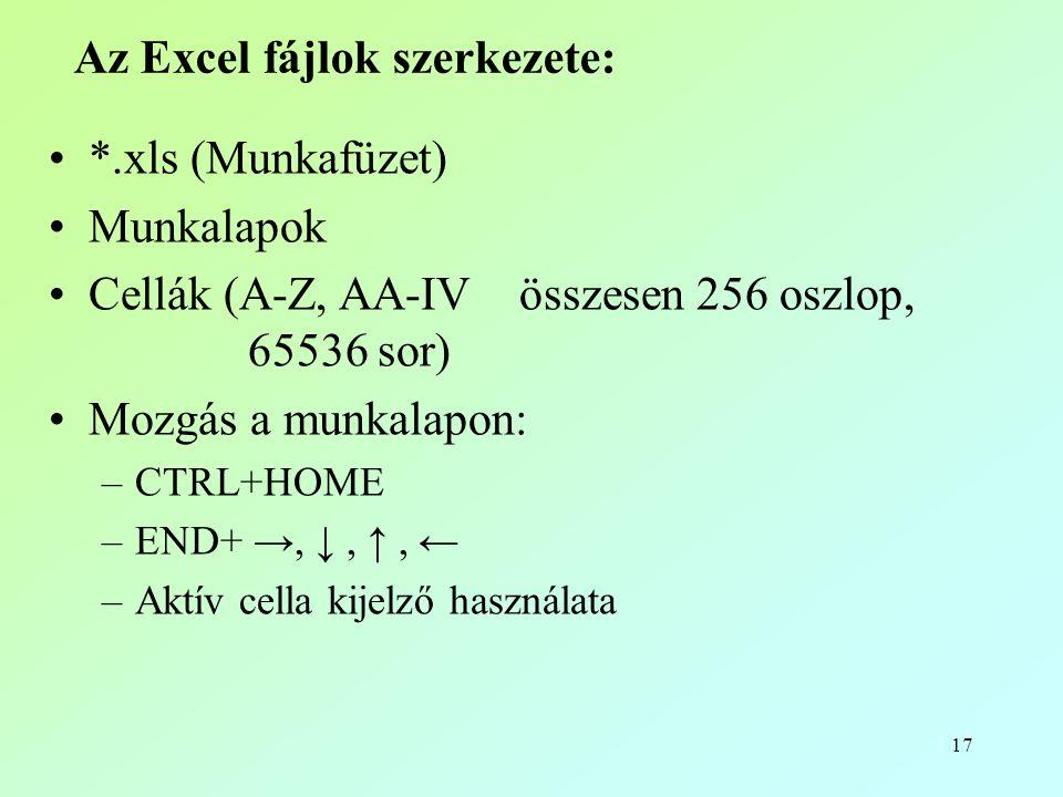 17 Az Excel fájlok szerkezete: •*.xls (Munkafüzet) •Munkalapok •Cellák (A-Z, AA-IV összesen 256 oszlop, 65536 sor) •Mozgás a munkalapon: –CTRL+HOME –END+ →, ↓, ↑, ← –Aktív cella kijelző használata