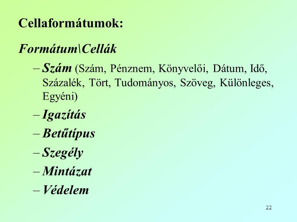 22 Cellaformátumok: Formátum\Cellák –Szám (Szám, Pénznem, Könyvelői, Dátum, Idő, Százalék, Tört, Tudományos, Szöveg, Különleges, Egyéni) –Igazítás –Betűtípus –Szegély –Mintázat –Védelem