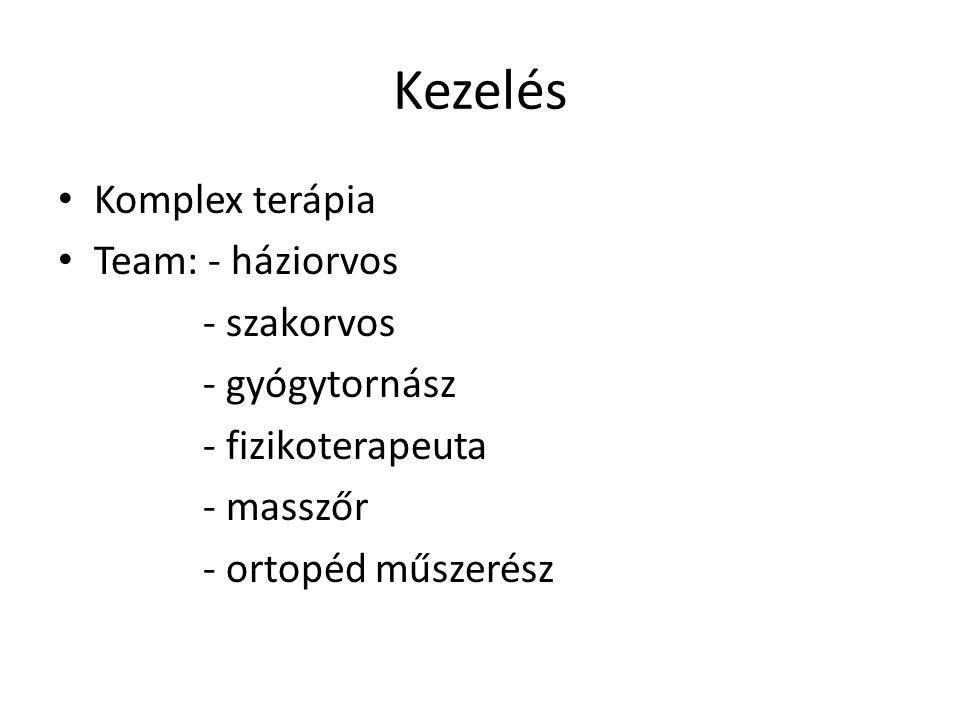Kezelés • Komplex terápia • Team: - háziorvos - szakorvos - gyógytornász - fizikoterapeuta - masszőr - ortopéd műszerész