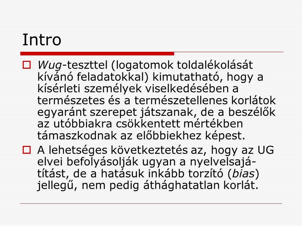 Korpusz (Hayes & Londe 2006)  10 000 magyar névszói tő előfordulásai -nak és -nek toldalékkal (Google találatok)  Korpusztisztítás: további rejtett összetételek és egyéb félrevezető adatok eltávolítása  Hayes et al.