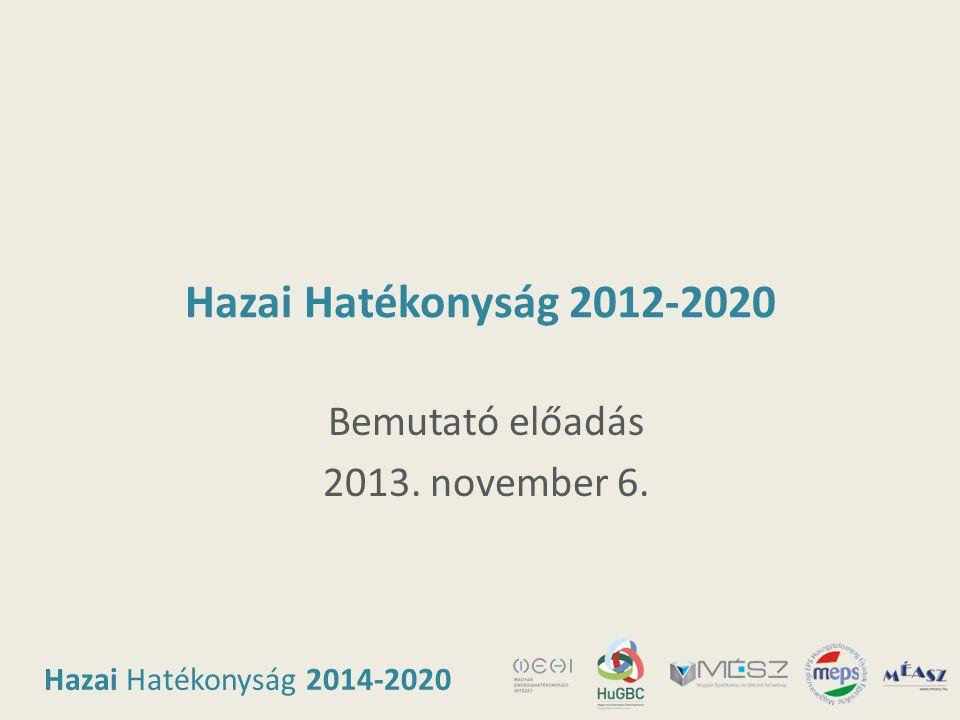 Hazai Hatékonyság 2014-2020 Hazai Hatékonyság 2012-2020 Bemutató előadás 2013. november 6.