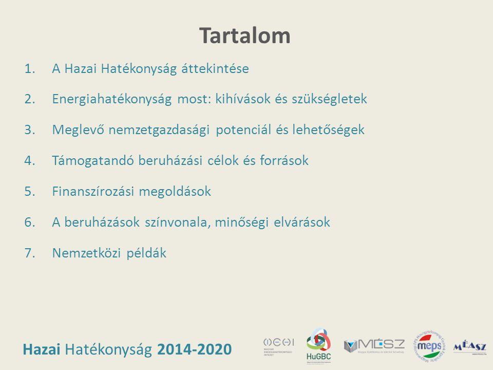 Hazai Hatékonyság 2014-2020 Tartalom 1.A Hazai Hatékonyság áttekintése 2.Energiahatékonyság most: kihívások és szükségletek 3.Meglevő nemzetgazdasági
