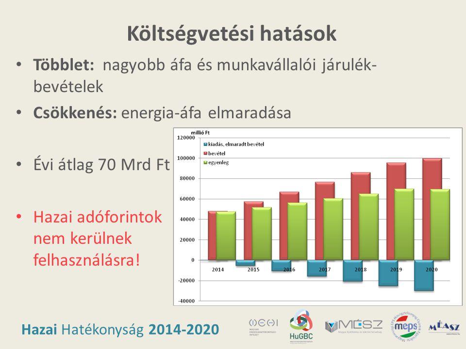 Hazai Hatékonyság 2014-2020 Költségvetési hatások • Többlet: nagyobb áfa és munkavállalói járulék- bevételek • Csökkenés: energia-áfa elmaradása • Évi