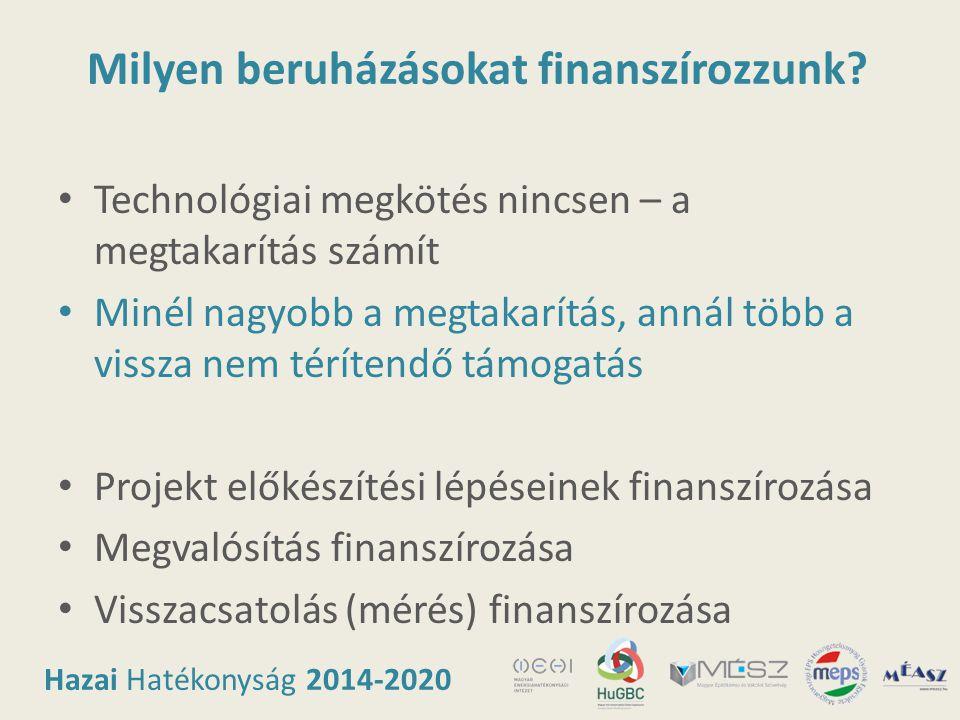 Hazai Hatékonyság 2014-2020 Milyen beruházásokat finanszírozzunk? • Technológiai megkötés nincsen – a megtakarítás számít • Minél nagyobb a megtakarít