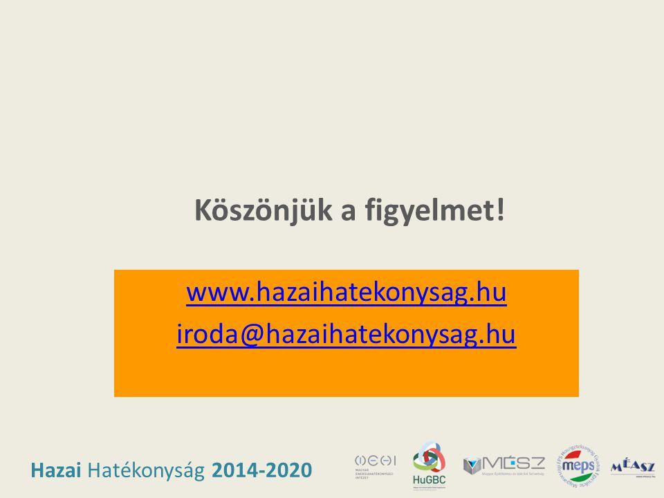 Hazai Hatékonyság 2014-2020 Köszönjük a figyelmet! www.hazaihatekonysag.hu iroda@hazaihatekonysag.hu