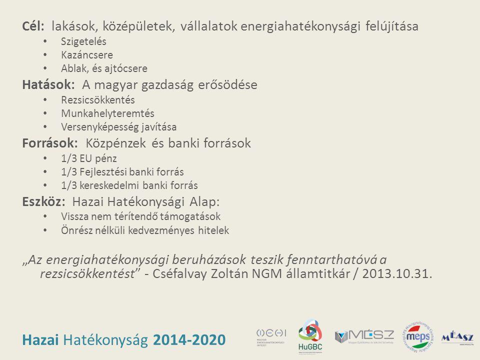 Hazai Hatékonyság 2014-2020 Cél: lakások, középületek, vállalatok energiahatékonysági felújítása • Szigetelés • Kazáncsere • Ablak, és ajtócsere Hatás