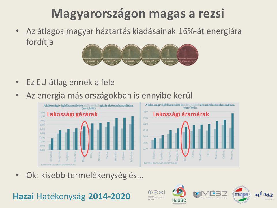 Hazai Hatékonyság 2014-2020 Magyarországon magas a rezsi • Az átlagos magyar háztartás kiadásainak 16%-át energiára fordítja • Ez EU átlag ennek a fel