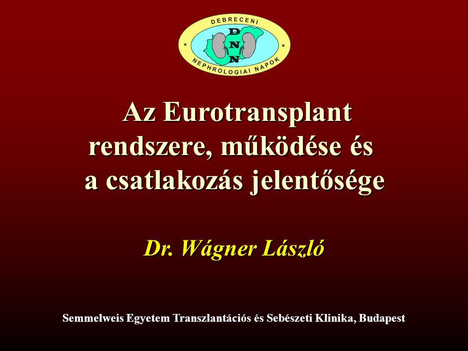Az Eurotransplant rendszere, működése és a csatlakozás jelentősége Az Eurotransplant rendszere, működése és a csatlakozás jelentősége Dr.