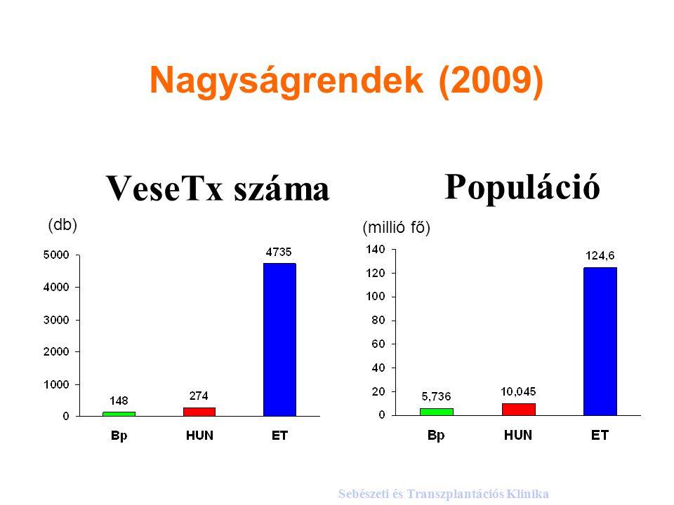 VeseTx száma (db) (millió fő) Populáció Sebészeti és Transzplantációs Klinika Nagyságrendek (2009)