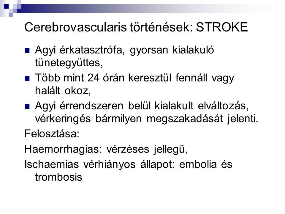 Cerebrovascularis történések: STROKE  Agyi érkatasztrófa, gyorsan kialakuló tünetegyüttes,  Több mint 24 órán keresztül fennáll vagy halált okoz, 