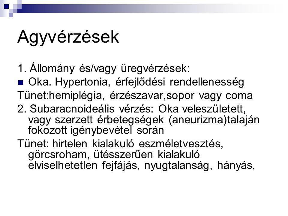 Agyvérzések 1. Állomány és/vagy üregvérzések:  Oka. Hypertonia, érfejlődési rendellenesség Tünet:hemiplégia, érzészavar,sopor vagy coma 2. Subaracnoi