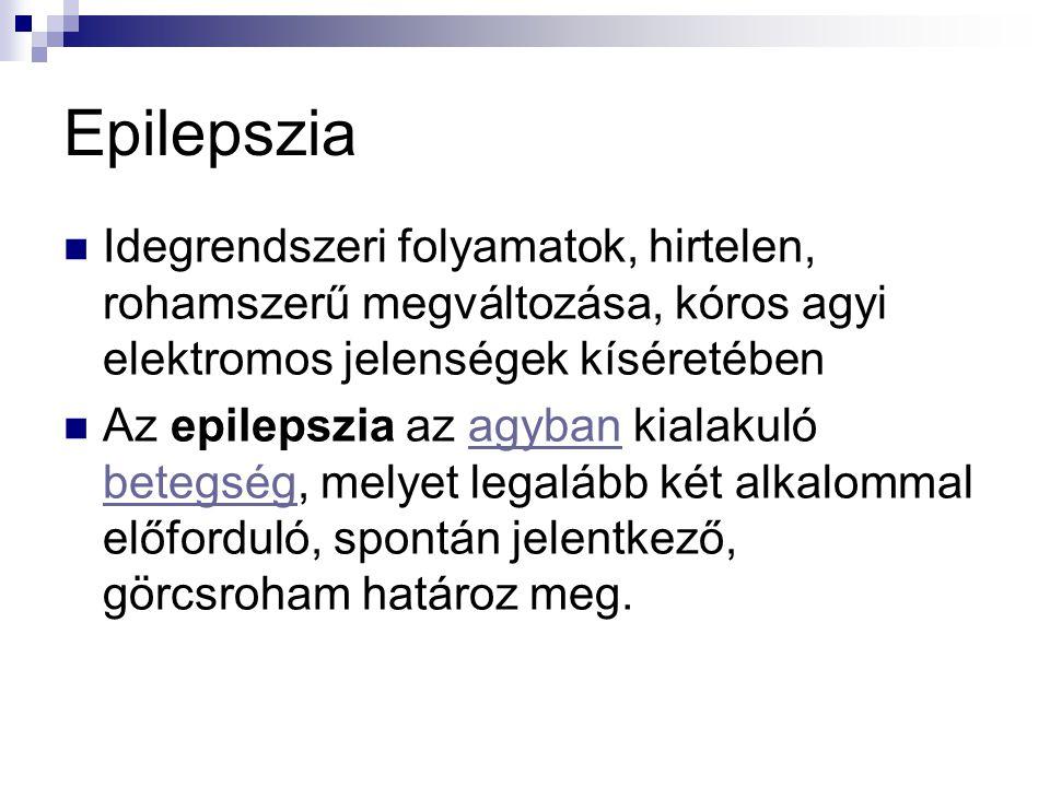 Epilepszia  Idegrendszeri folyamatok, hirtelen, rohamszerű megváltozása, kóros agyi elektromos jelenségek kíséretében  Az epilepszia az agyban kiala