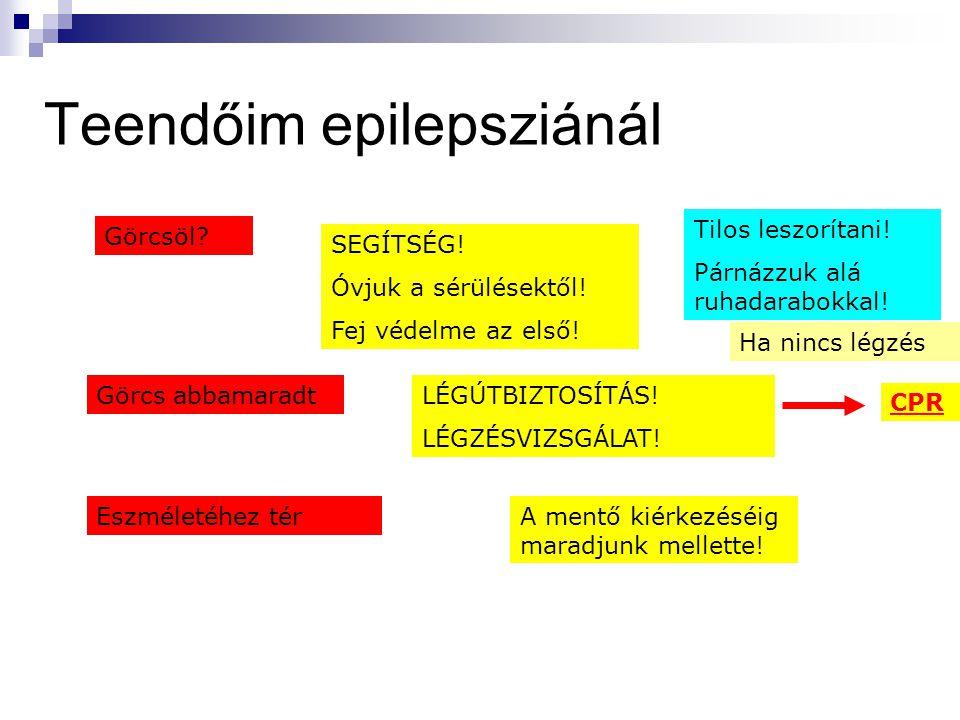 Teendőim epilepsziánál Görcsöl? SEGÍTSÉG! Óvjuk a sérülésektől! Fej védelme az első! Görcs abbamaradtLÉGÚTBIZTOSÍTÁS! LÉGZÉSVIZSGÁLAT! A mentő kiérkez