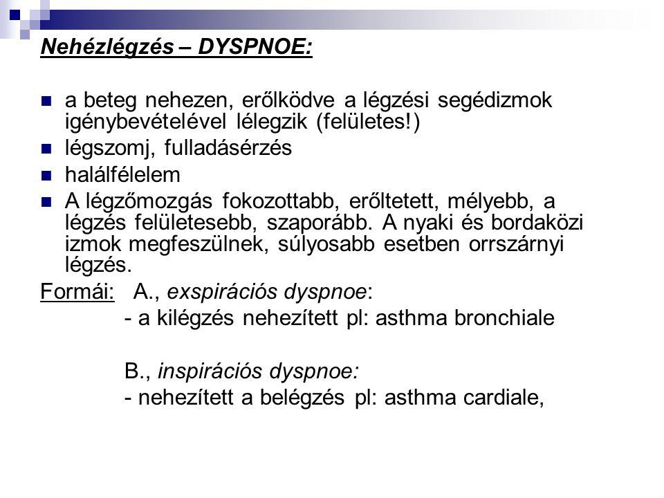 Nehézlégzés – DYSPNOE:  a beteg nehezen, erőlködve a légzési segédizmok igénybevételével lélegzik (felületes!)  légszomj, fulladásérzés  halálfélel