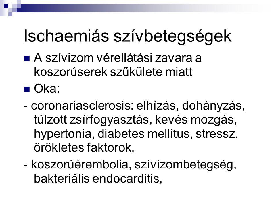 Ischaemiás szívbetegségek  A szívizom vérellátási zavara a koszorúserek szűkülete miatt  Oka: - coronariasclerosis: elhízás, dohányzás, túlzott zsír