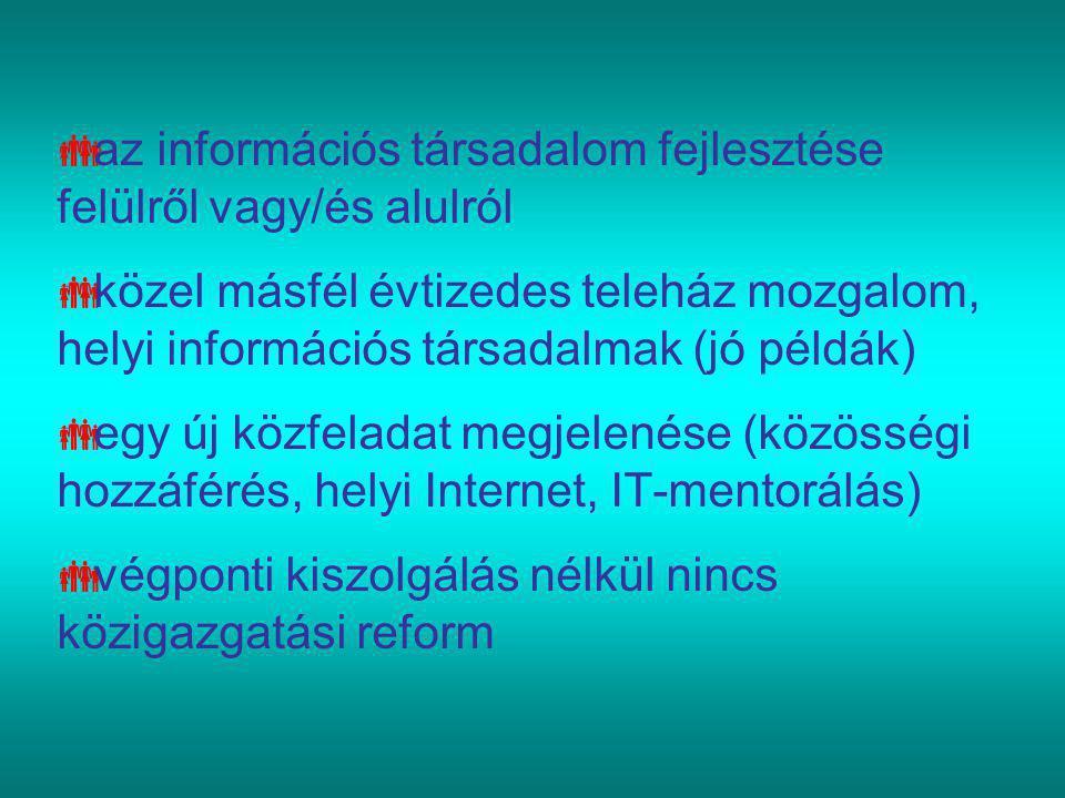  az információs társadalom fejlesztése felülről vagy/és alulról  közel másfél évtizedes teleház mozgalom, helyi információs társadalmak (jó példák)  egy új közfeladat megjelenése (közösségi hozzáférés, helyi Internet, IT-mentorálás)  végponti kiszolgálás nélkül nincs közigazgatási reform