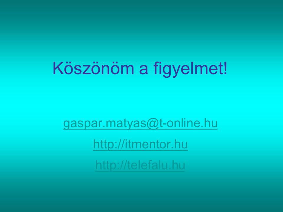 Köszönöm a figyelmet! gaspar.matyas@t-online.hu http://itmentor.hu http://telefalu.hu