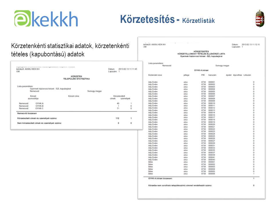 Értéket teremtünk a közigazgatásban 17 Körzetesítés - Körzetlisták Körzetenkénti statisztikai adatok, körzetenkénti tételes (kapubontású) adatok