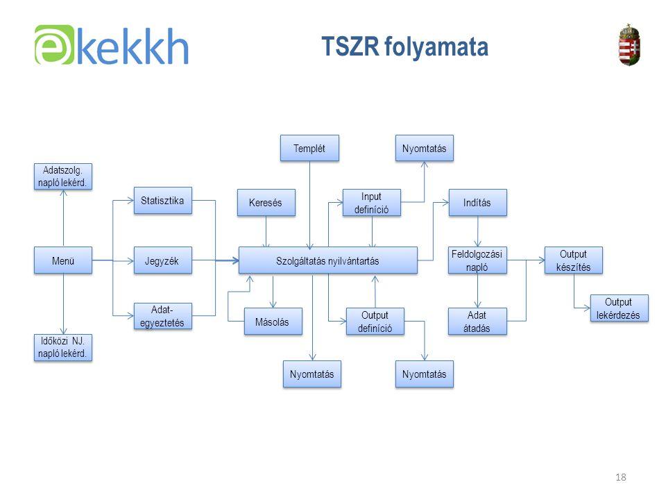 Értéket teremtünk a közigazgatásban 18 TSZR folyamata Menü Statisztika Jegyzék Adat- egyeztetés Input definíció Output definíció Indítás Adat átadás Output lekérdezés Templét Másolás Output készítés Feldolgozási napló Keresés Nyomtatás Szolgáltatás nyilvántartás Nyomtatás Adatszolg.