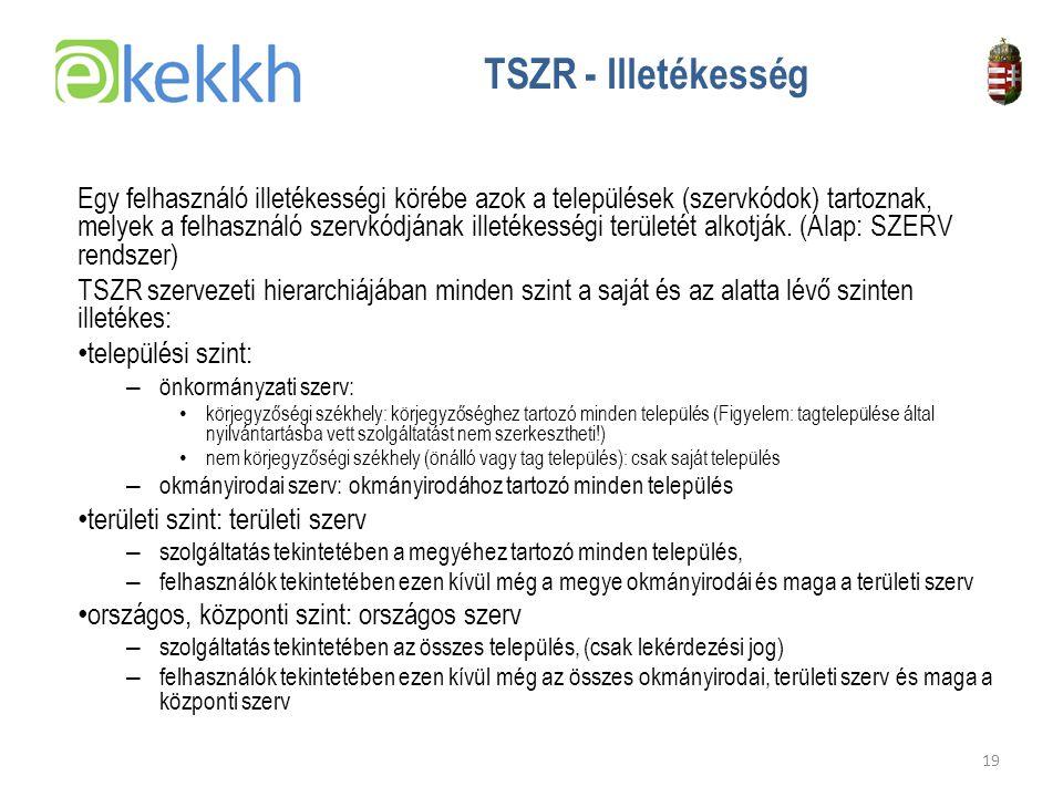 Értéket teremtünk a közigazgatásban 19 TSZR - Illetékesség Egy felhasználó illetékességi körébe azok a települések (szervkódok) tartoznak, melyek a felhasználó szervkódjának illetékességi területét alkotják.
