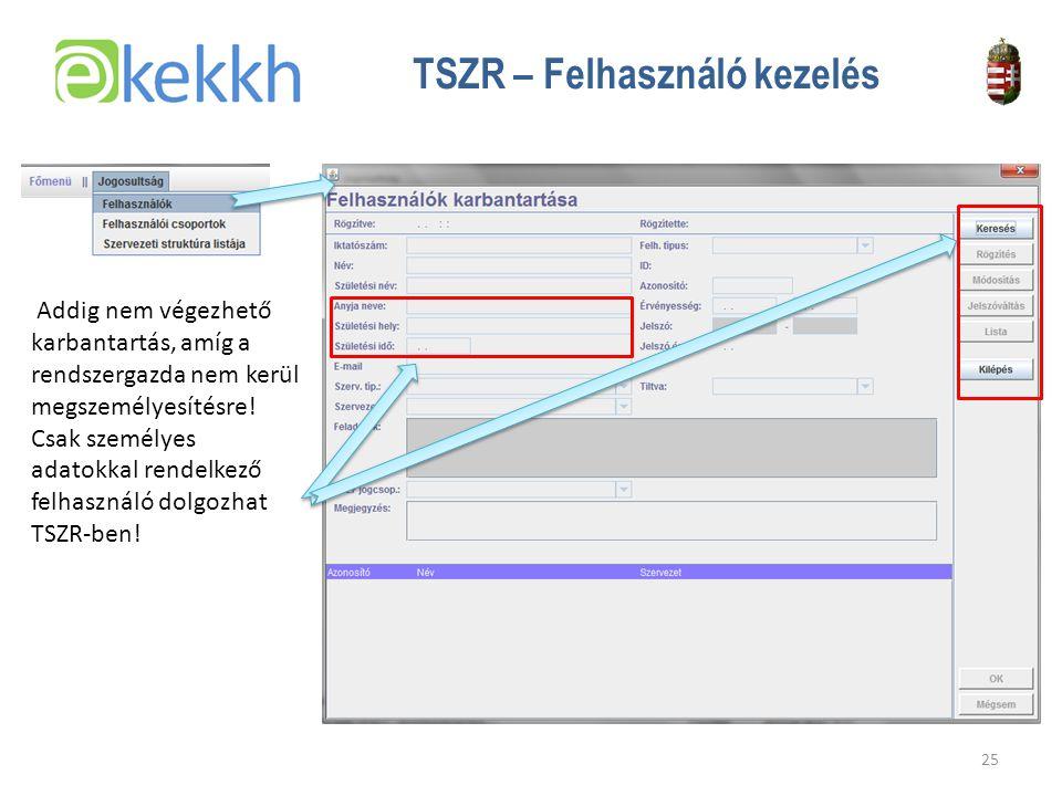 Értéket teremtünk a közigazgatásban 25 TSZR – Felhasználó kezelés Addig nem végezhető karbantartás, amíg a rendszergazda nem kerül megszemélyesítésre.