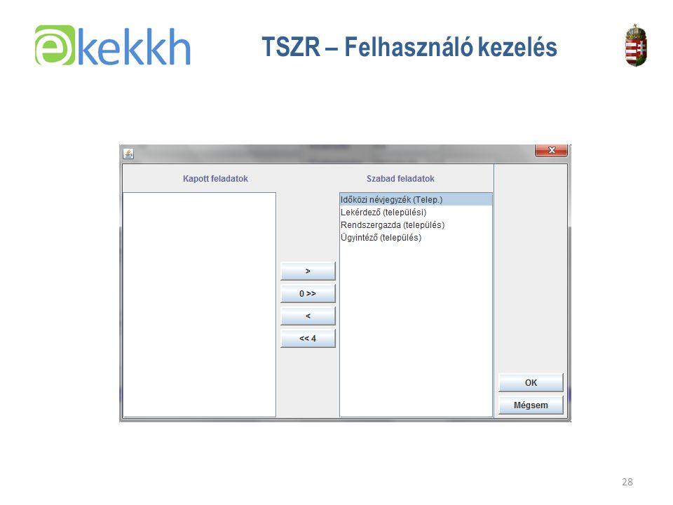 Értéket teremtünk a közigazgatásban 28 TSZR – Felhasználó kezelés