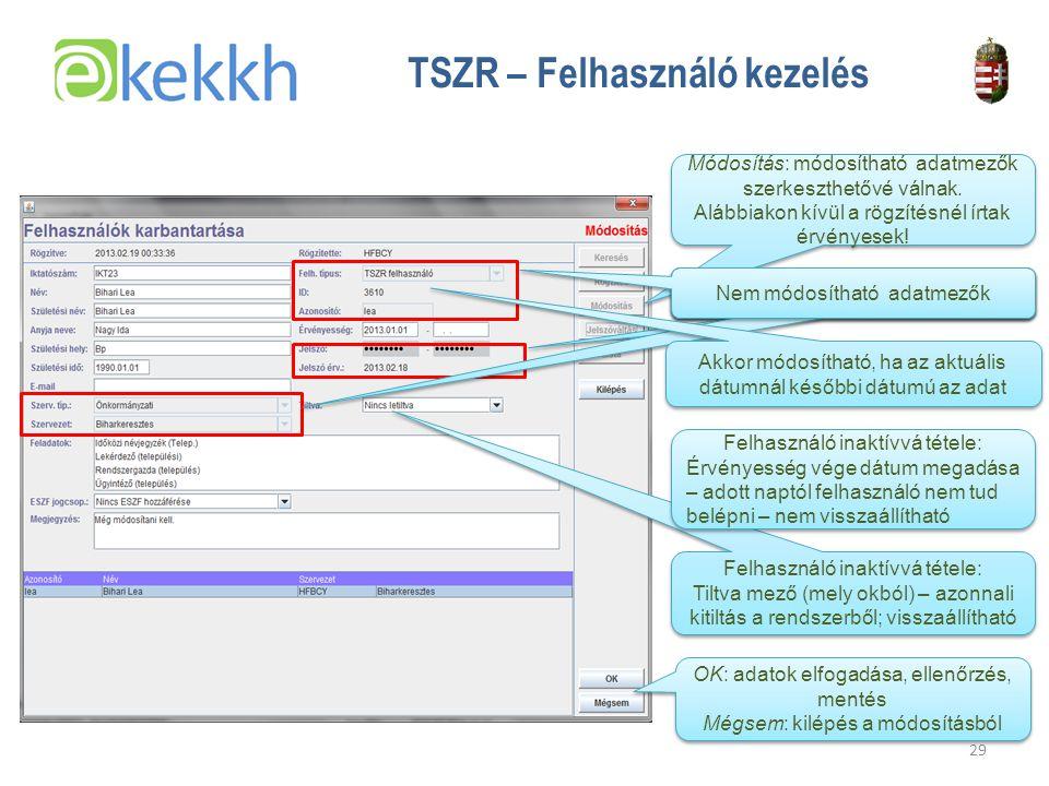 Értéket teremtünk a közigazgatásban 29 TSZR – Felhasználó kezelés Módosítás: módosítható adatmezők szerkeszthetővé válnak.