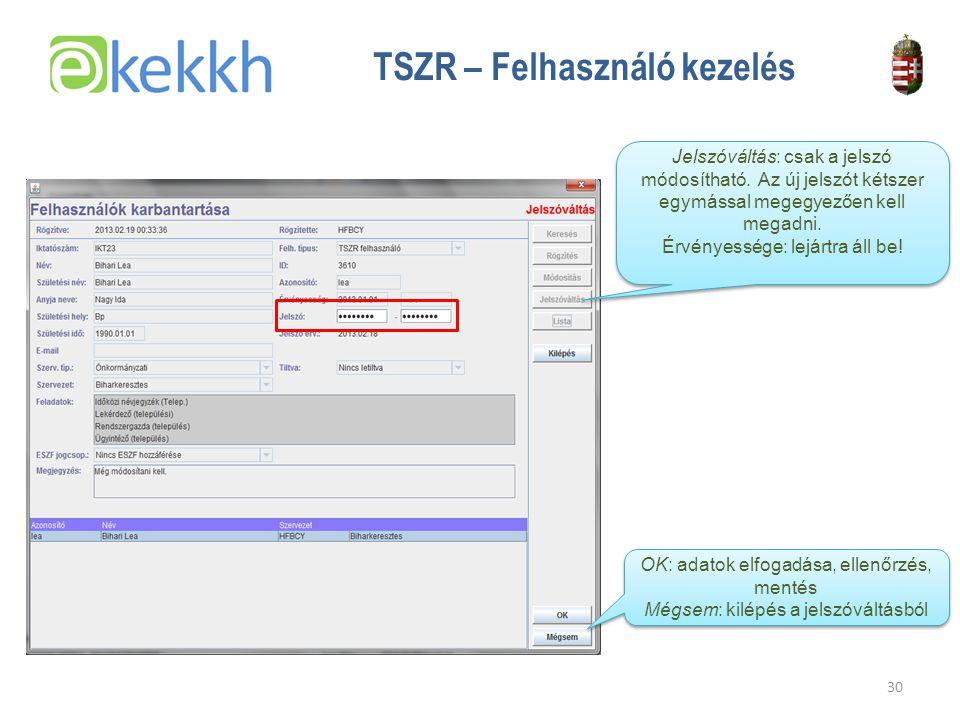 Értéket teremtünk a közigazgatásban 30 TSZR – Felhasználó kezelés Jelszóváltás: csak a jelszó módosítható.