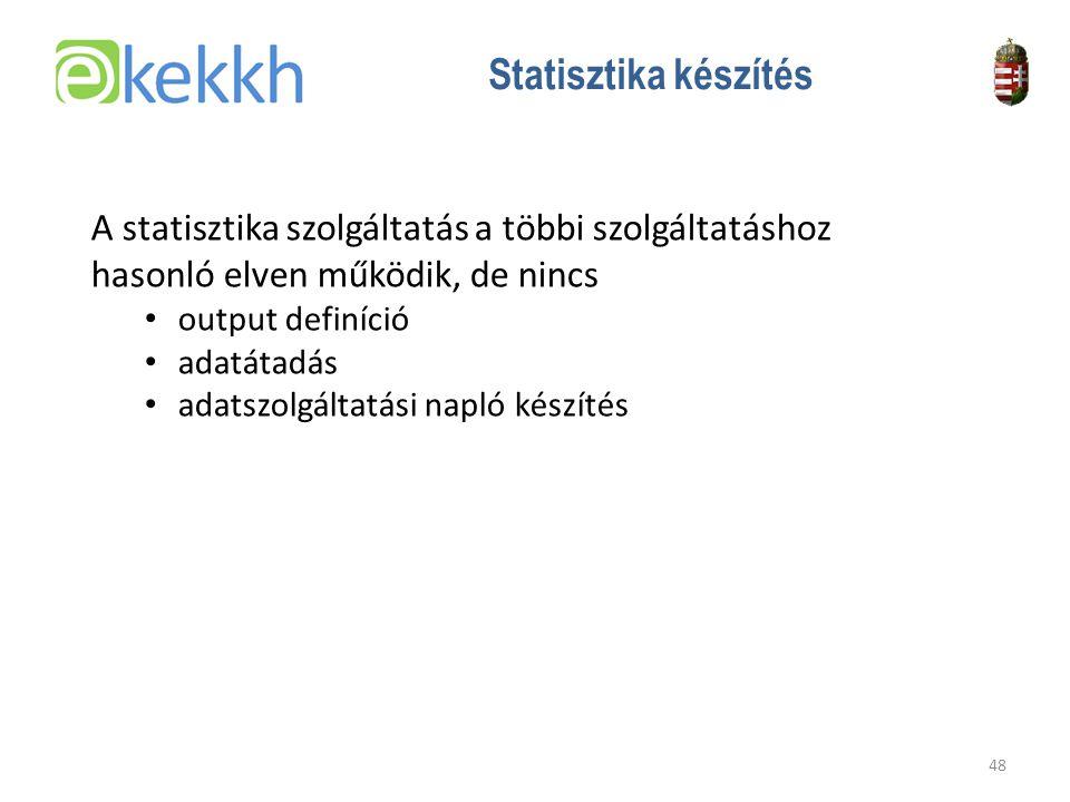 Értéket teremtünk a közigazgatásban 48 Statisztika készítés A statisztika szolgáltatás a többi szolgáltatáshoz hasonló elven működik, de nincs •o•output definíció •a•adatátadás •a•adatszolgáltatási napló készítés