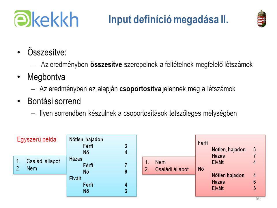 Értéket teremtünk a közigazgatásban 50 Input definíció megadása II.